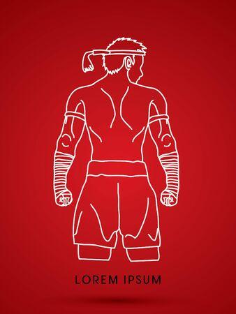 thai boxing: Muay Thai, Thai Boxing Sport pose Illustration