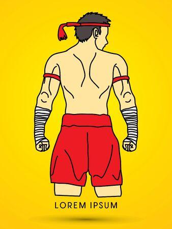 muay thai: Muay Thai, Thai Boxing Sport pose Illustration