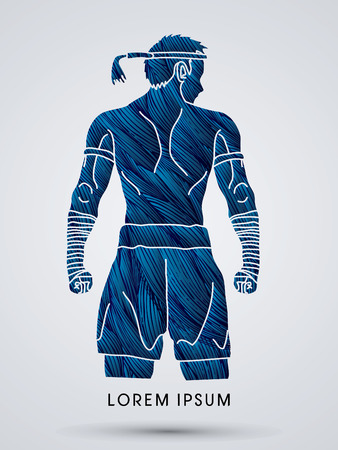 muay thai: Muay Thai, Thai Boxing Sport pose, design using blue grunge brush