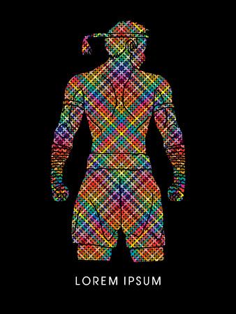 muay thai: Muay Thai, Thai Boxing Sport pose, design using colorful pixels