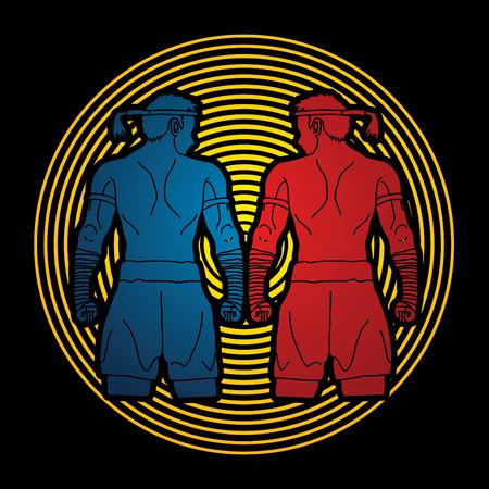 thai boxing: Muay Thai, Thai Boxing Sport pose, design on cycle light background