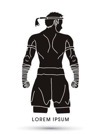 Muay Thai, Thai Boxing Sport pose Stock Illustratie