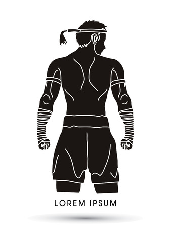 Muay Thai, Thai Boxing Sport pose 矢量图像