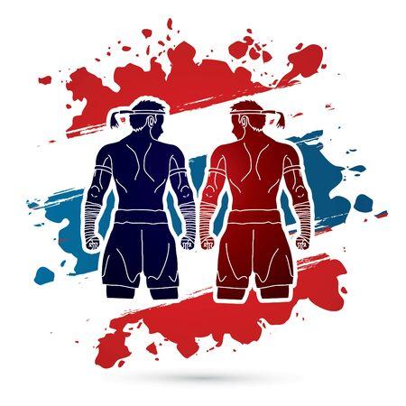 Muay Thai, Thai Boxing Sport pose, design on Thailand Flag background