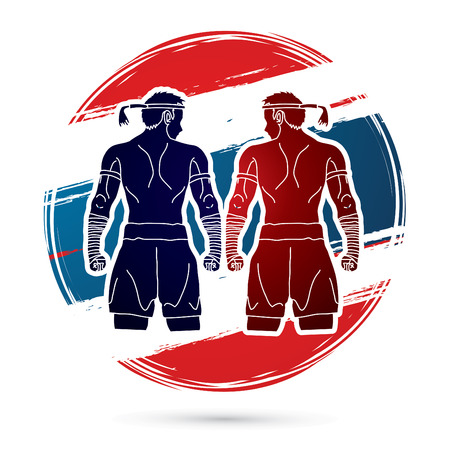 adversary: Muay Thai, Thai Boxing Sport pose, design on Thailand Flag background Illustration