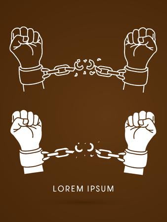 prison break: Broken handcuffs Illustration