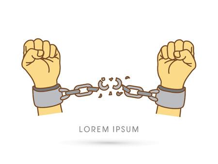 Broken handcuffs Vektoros illusztráció