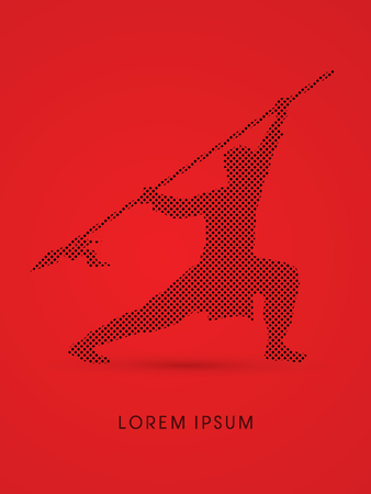 gung: Kung Fu, Wushu with spear pose Illustration
