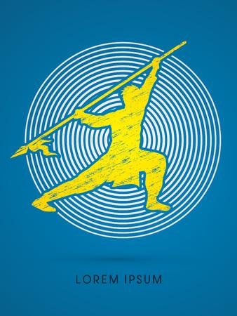 taiji: Kung Fu, Wushu with spear pose, designed on circle line background