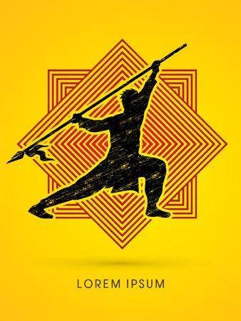 taiji: Kung Fu, Wushu with spear pose, designed on line square background Illustration