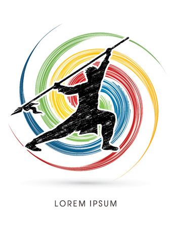 Kung Fu, Wushu with spear pose, designed on spin wheel background