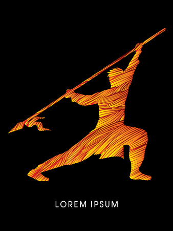 gung: Kung Fu, Wushu with spear pose, designed using fire brush Illustration