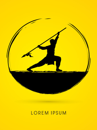 taiji: Kung Fu, Wushu with spear pose graphic vector.