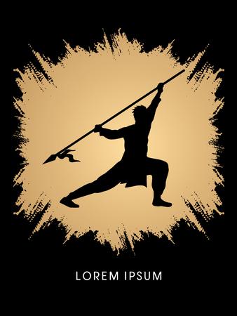 taiji: Kung Fu, Wushu with spear pose, designed on grunge frame background Illustration