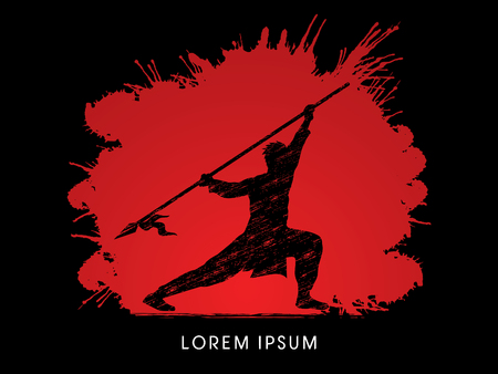gung: Kung Fu, Wushu with spear pose, designed on splash blood background Illustration