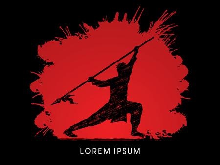 taiji: Kung Fu, Wushu with spear pose, designed on splash blood background Illustration