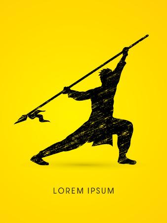taiji: Kung Fu, Wushu with spear pose, designed using grunge brush