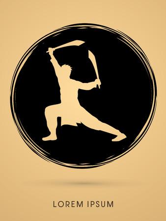 taiji: Kung Fu, Wushu with sword pose, designed on grunge circle background Illustration