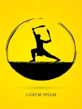 taiji: Kung Fu, Wushu with sword pose