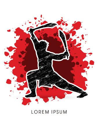 taiji: Kung Fu, Wushu with sword pose, designed on splash blood background