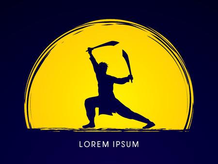 Kung Fu, Wushu with sword pose