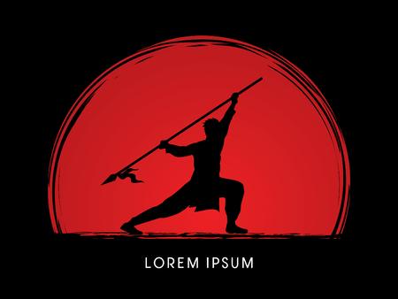 Kung Fu, Wushu with spear pose Illustration