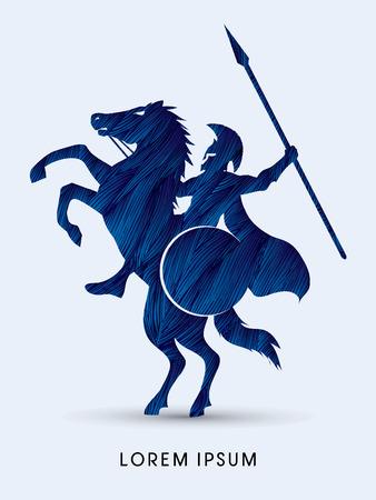 Spartaanse krijger ruiters met een speer Stock Illustratie