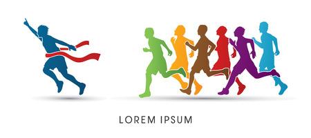 Grupa lub biegaczy, zwycięzca zaprojektowany z wykorzystaniem kolorowe grafiki wektorowej. Ilustracje wektorowe