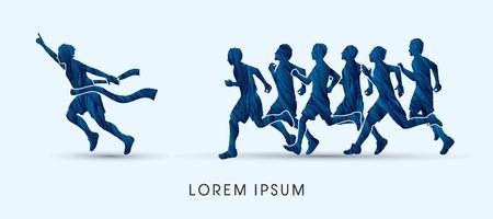 follow the leader: Group or runners, the winner designed using blue grunge brush graphic vector. Illustration