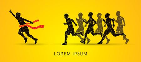 race winner: Group or runners,  the winner designed using grunge brush graphic vector. Illustration