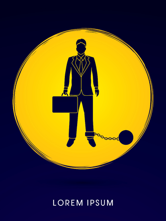 enslave: Businessman dragging with ball and chain designed on moonlight background graphic vector. Illustration