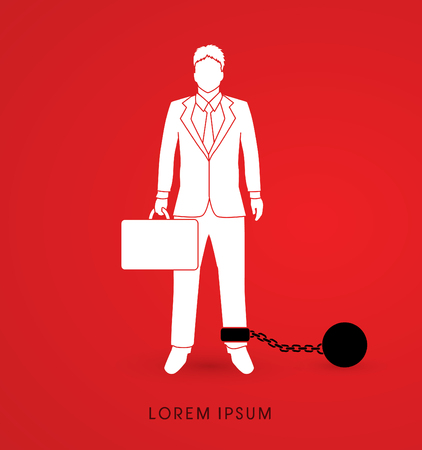 enslave: Businessman dragging with ball and chain graphic vector.