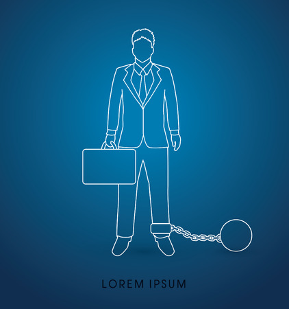 confine: Businessman dragging with ball and chain outline graphic vector. Illustration