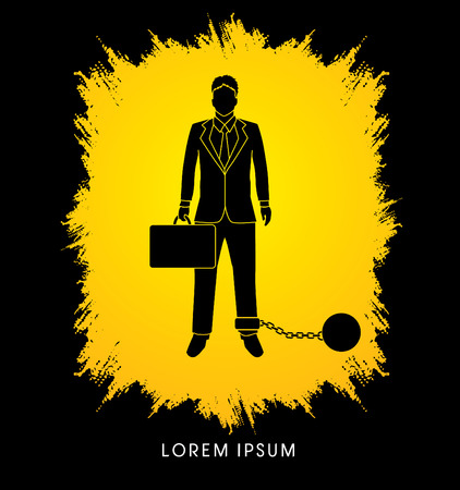 confine: Businessman dragging with ball and chain designed on grunge frame background graphic vector.
