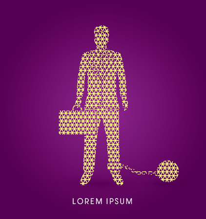 enslave: Businessman dragging with ball and chain designed using line geometric pattern graphic vector. Illustration