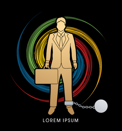 dragging: Businessman dragging with ball and chain designed on spin wheel background graphic vector.