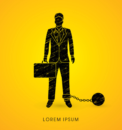 enslave: Businessman dragging with ball and chain designed using grunge brush graphic vector.