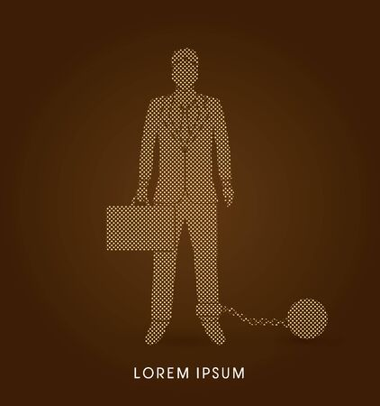 enslave: Businessman dragging with ball and chain designed using dots pixels graphic vector. Illustration