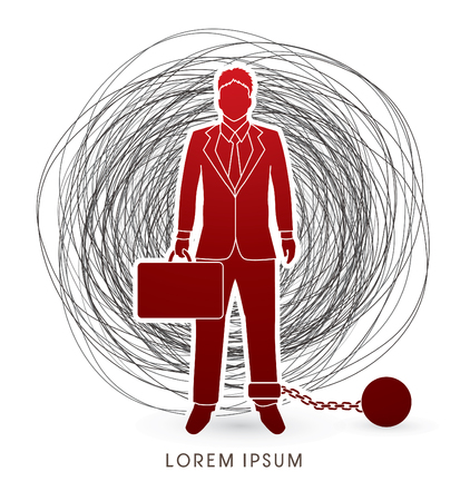 escape plan: Businessman dragging with ball and chain designed on confuse background graphic vector. Illustration