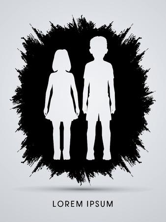 creche: Stop Child abuse, help children designed on grunge frame background graphic vector.