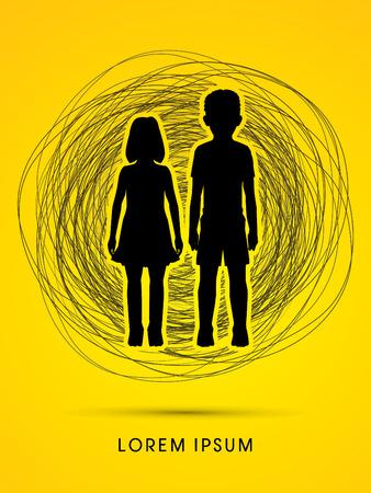 problemas familiares: Detener el abuso infantil, ayudar a los ni�os dise�ados en grunge confundir l�nea de fondo gr�fico vectorial.