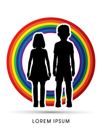child abuse: Stop Child abuse, help children designed on rainbows background graphic vector.