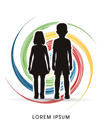 orphan: Stop Child abuse, help children designed on spin wheel background graphic vector.