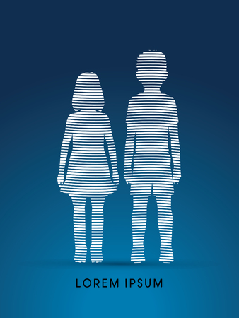 ragazze a piedi nudi: Stop Child abusi, aiutare i bambini progettati utilizzando grafico linea vettoriale.