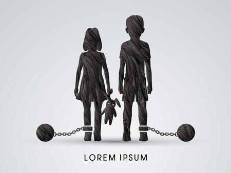 Detener el abuso infantil, los niños con cadena y bola diseñados con cepillo negro grunge gráfico vectorial.