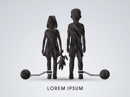 slavery: Stop Child abuse ,Children with chain and ball designed using black grunge brush graphic vector.