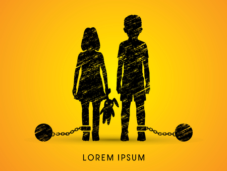 ragazze a piedi nudi: abusi Stop Child, bambini con catena e palla progettato utilizzando grafico grunge vettore.