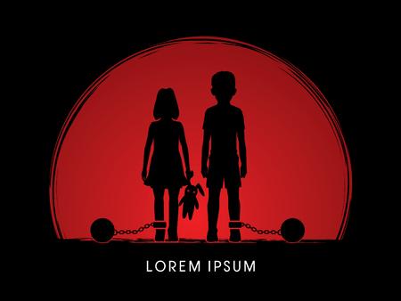 ragazze a piedi nudi: abusi Stop Child, bambini con catena e palla progettato su sfondo tramonto grafica vettoriale.