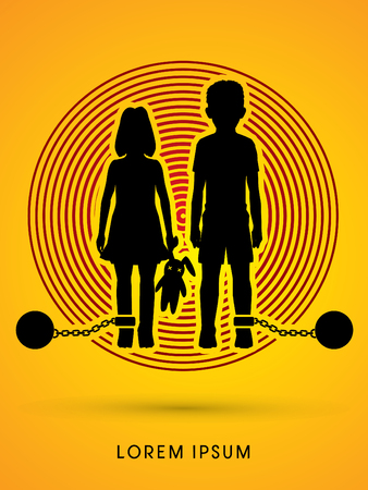 cruelty: Stop Child abuse ,Children with chain and ball designed on light circle background graphic vector.