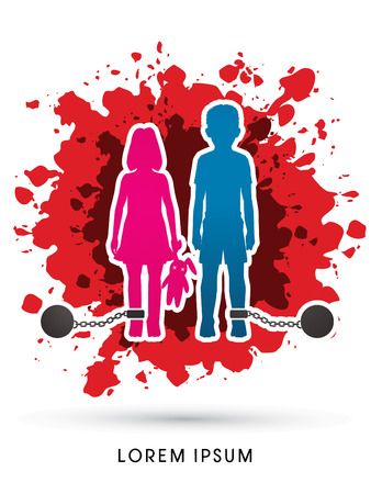 Stop Child abuse ,Children with chain and ball designed on grunge splash blood background graphic vector. Illustration